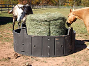 poly round hay feeder in the pasture with two horses