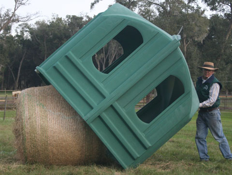 covered horse hay feeder