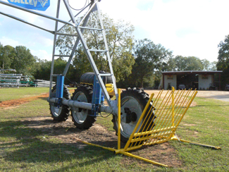 Drive over gate set up for irrigation pivot wheels