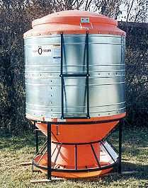 A large poly hog feeder outside