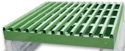 cattle grid with flat top rails
