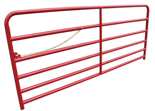 A red livestock gate with a locking chain attached