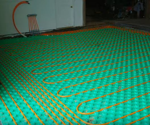floor heat panels with pex tubing layout