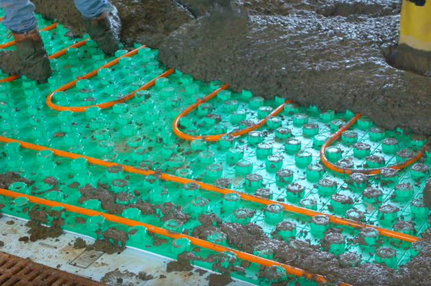 concrete covering radiant floor insulation panels