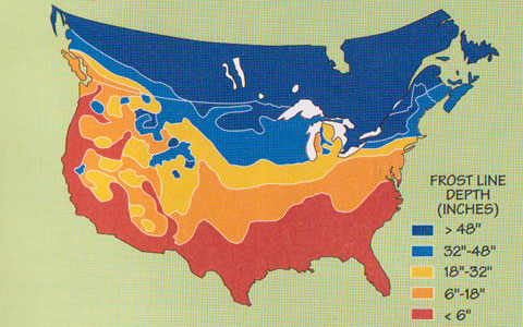 frost depth map of us
