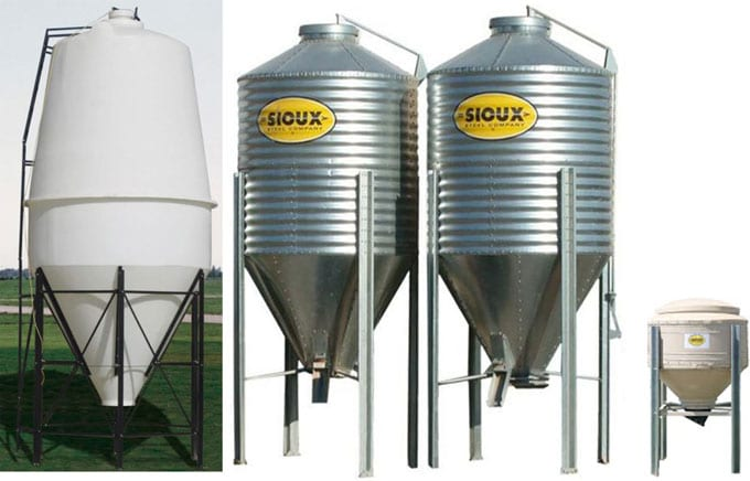 Grain bins in various sizes