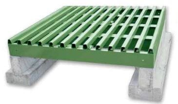 cattle guard on concrete foundations