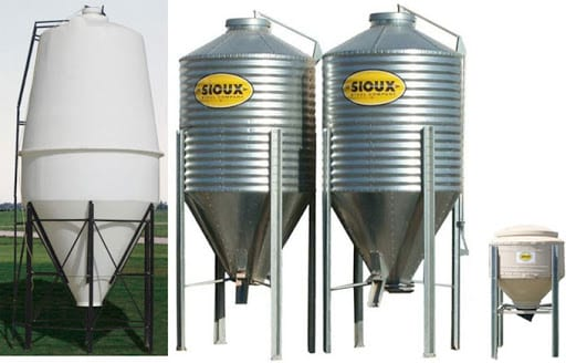 grain bins in metal and poly material
