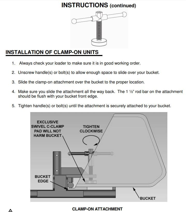 bucket fork attachment instructions