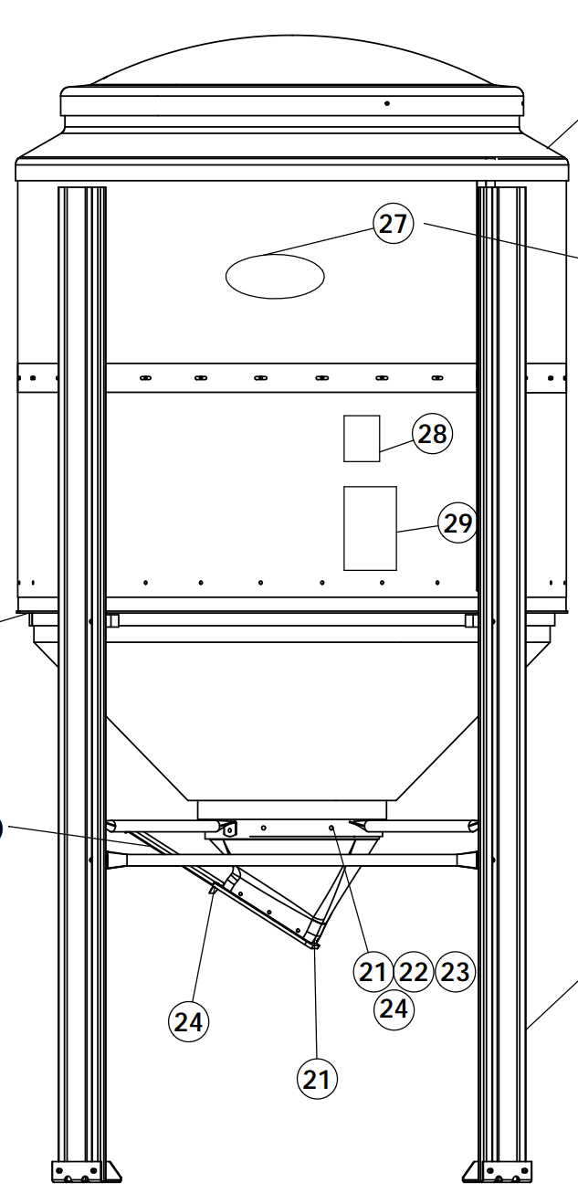 small feed bin assembled diagram