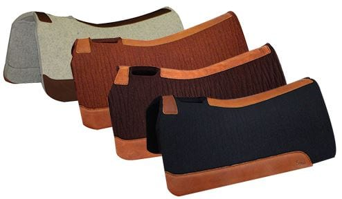 four saddle pads in different colors