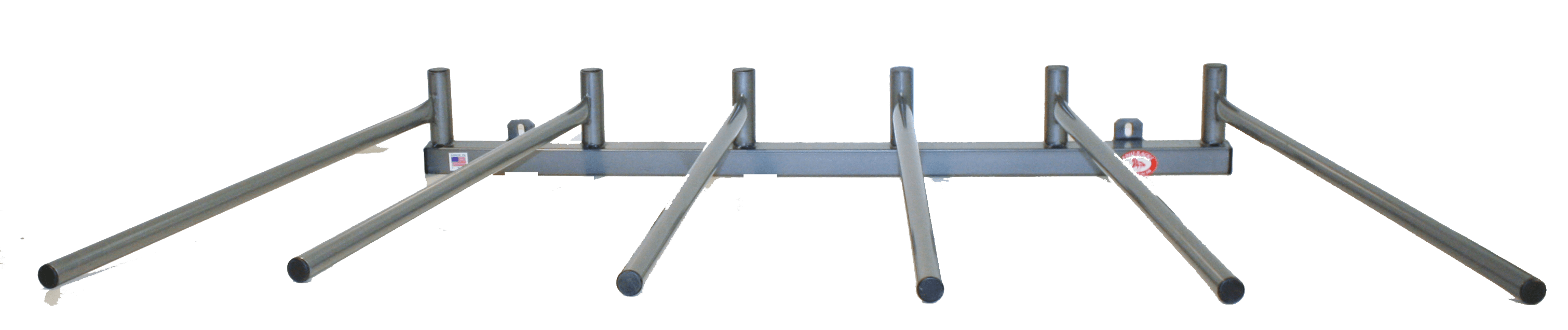 saddle pad rack with 6 arms in wall mount with horizontal configuration